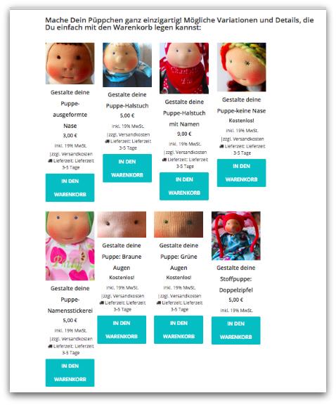 Beispiele für Varianten, die in den Produkten jetzt verlinkt sind und einfach mit in den Warenkorb gelegt werden können.