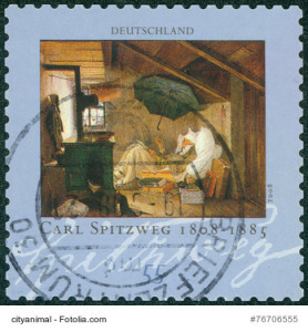 """stamp shows the painting """"The Poor Poet"""" by Carl Spitzweg"""